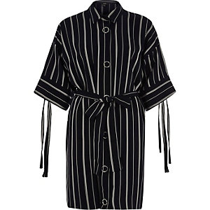 Navy stripe print eyelet shirt dress