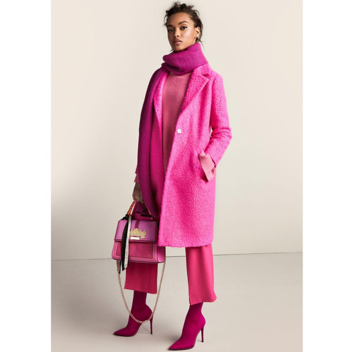 Bright pink textured coat - Coats - Coats & Jackets - women