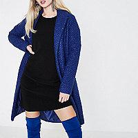 Kobaltblauwe jas met textuur