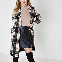 Beige check coat