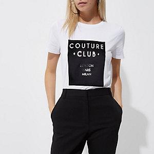 Petite white 'couture club' T-shirt