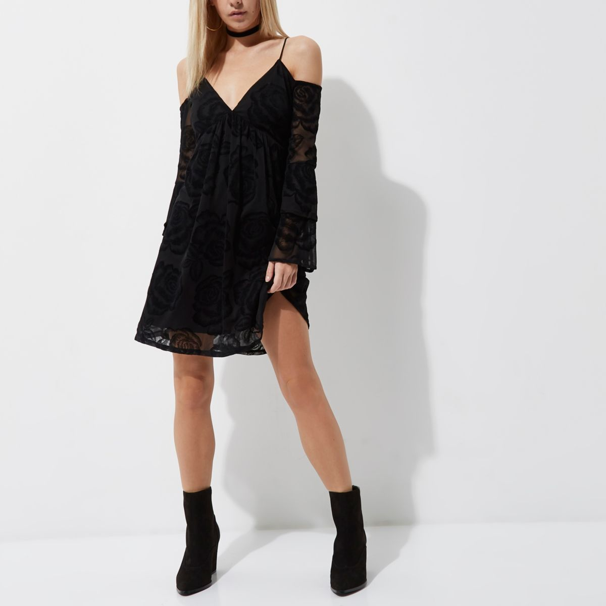 Petite black burnout cold shoulder dress