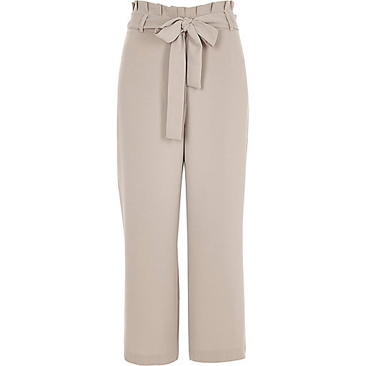 Grey pleated trim belted culottes