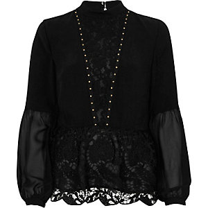 Black lace hem studded long sleeve top