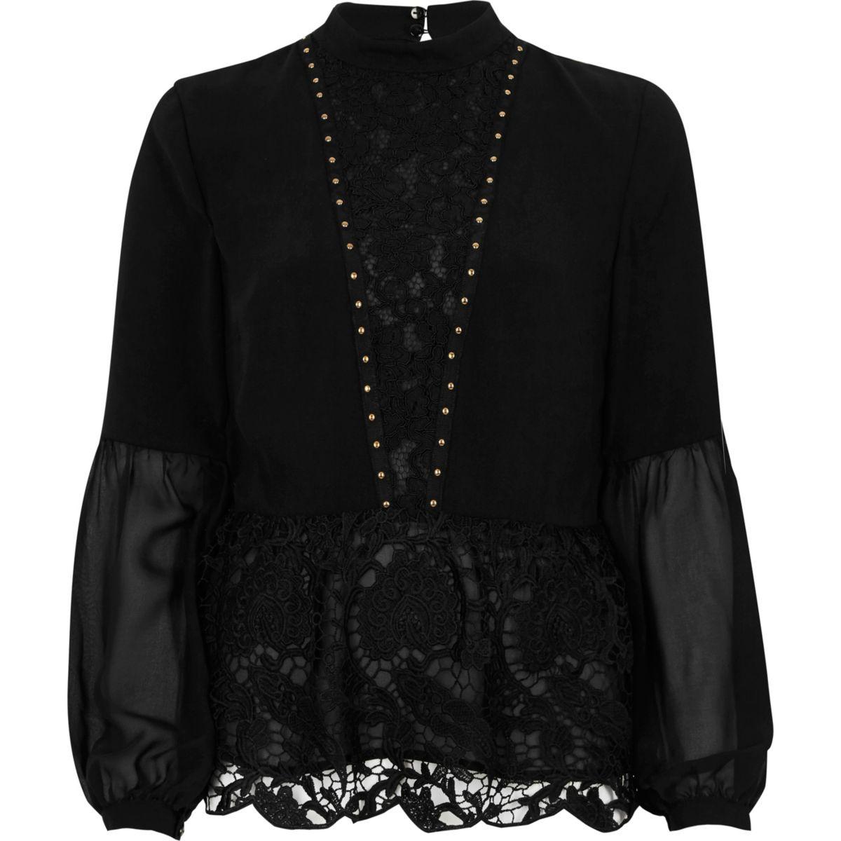 Black lace hem studded long sleeve top