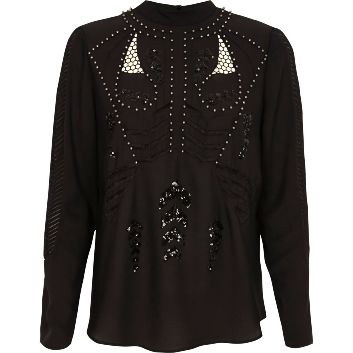 Black studded high neck long sleeve top
