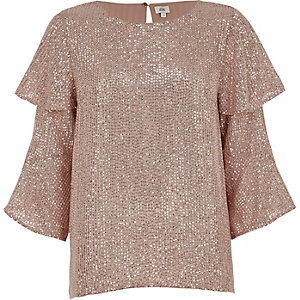 Pink sequin embellished frill sleeve top