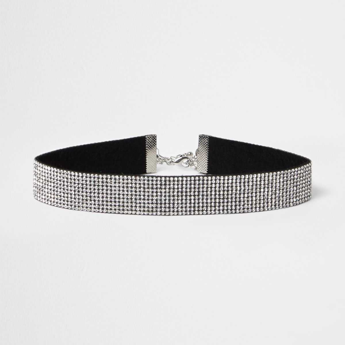 Silver tone heatseal diamante choker