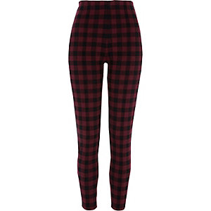 Rote, karierte Leggings