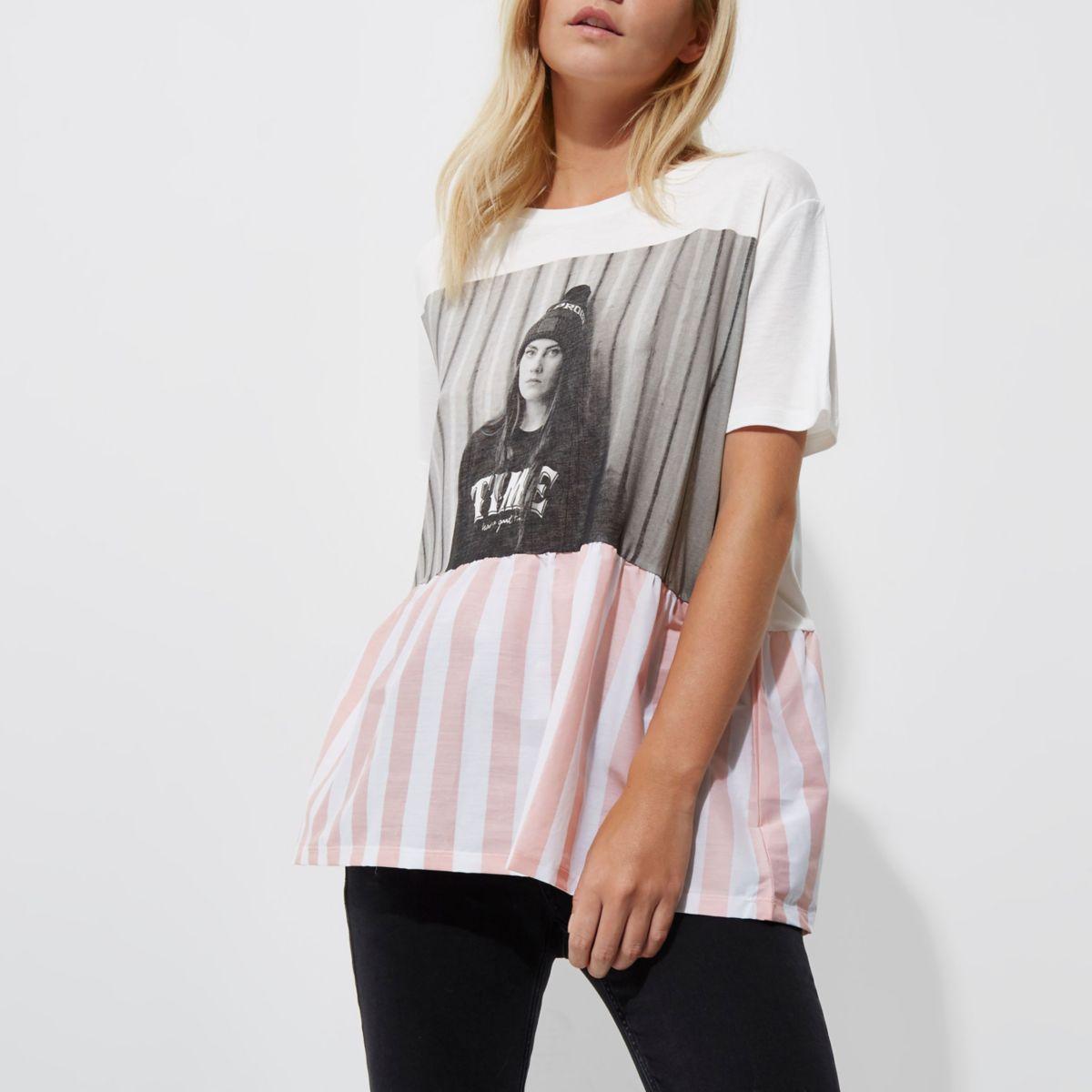 Petite white oversized girl print T-shirt