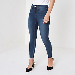 Petite blue Molly raw hem skinny jeggings
