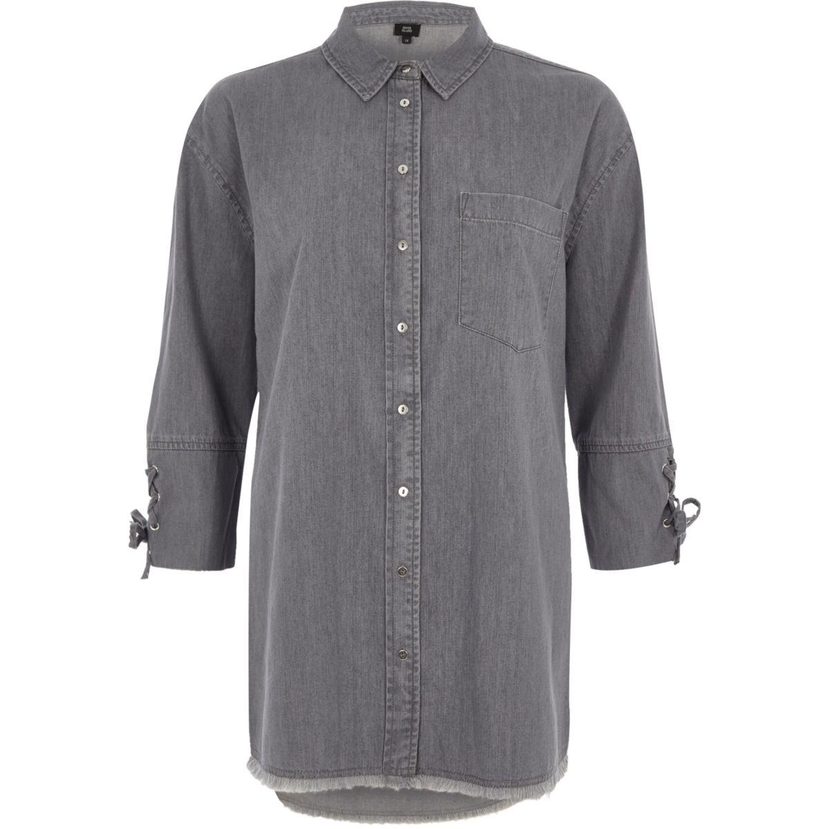 Grey tie cuff denim shirt