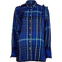 Blue check ruffle long sleeve shirt
