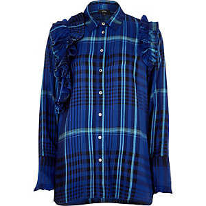 Blue check ruffle long sleeve shirt
