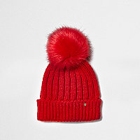 Red rib knit faux fur bobble beanie hat