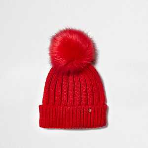 Red rib knit pom pom beanie hat