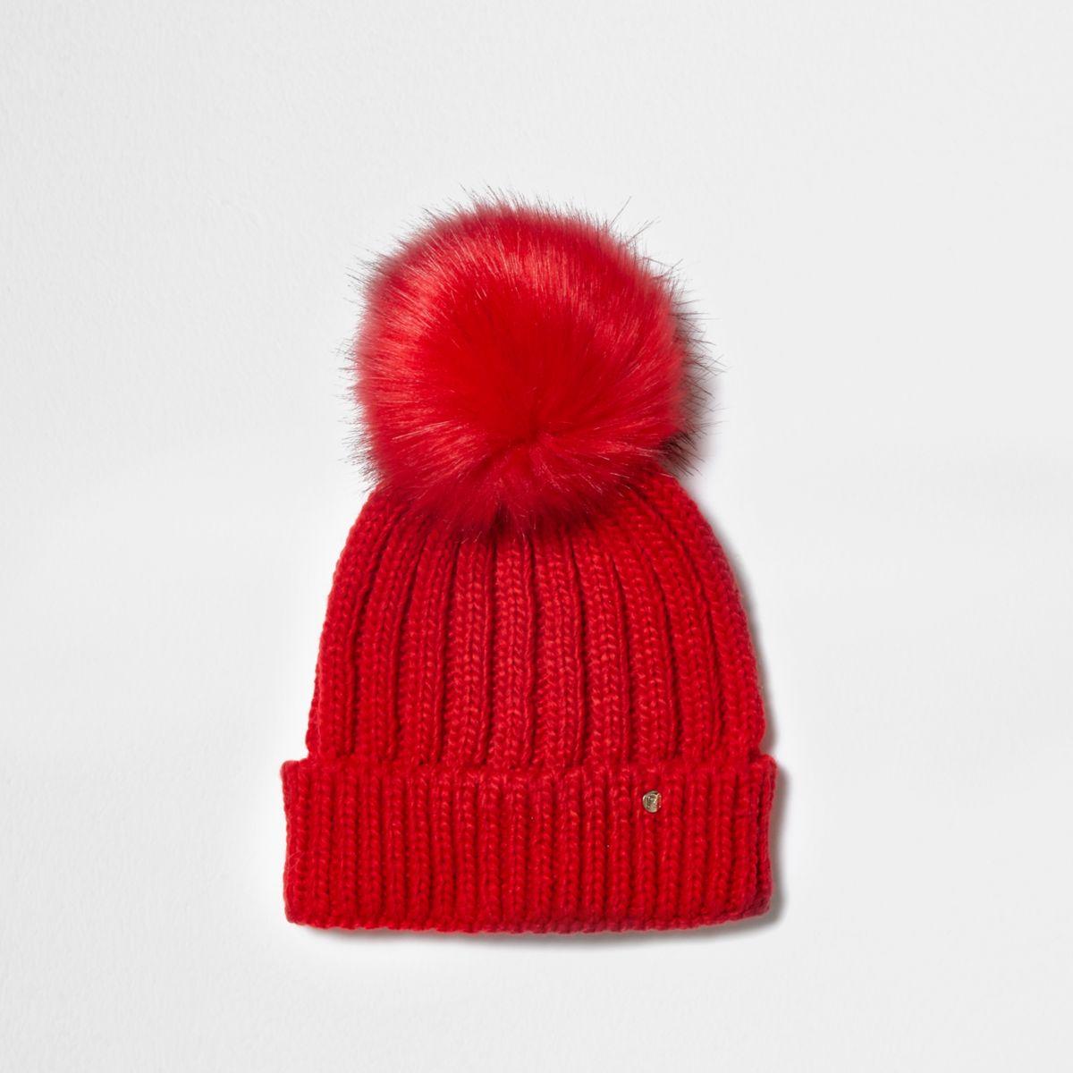 Red rib knit faux fur bobble beanie hat - Hats ...