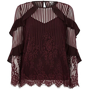 Dark red lace frill long sleeve top