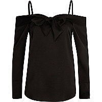Black bardot bow front long sleeve top