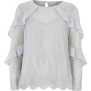 Light grey lace frill long sleeve top