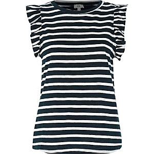 Navy stripe frill sleeve tank top