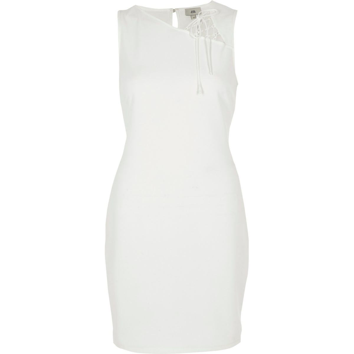 White sleeveless lace insert bodycon dress