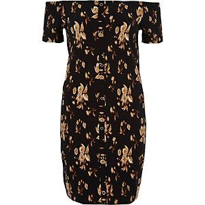 Black floral print bardot bodycon mini dress