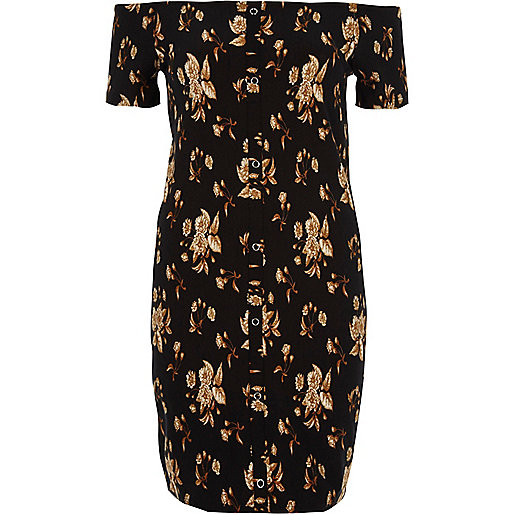 Black floral print bardot bodycon mini dress