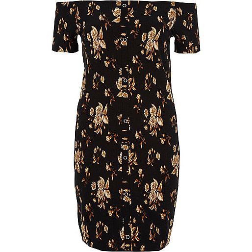 Mini-robe Bardot moulante à fleurs noire