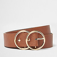 Tan double ring belt