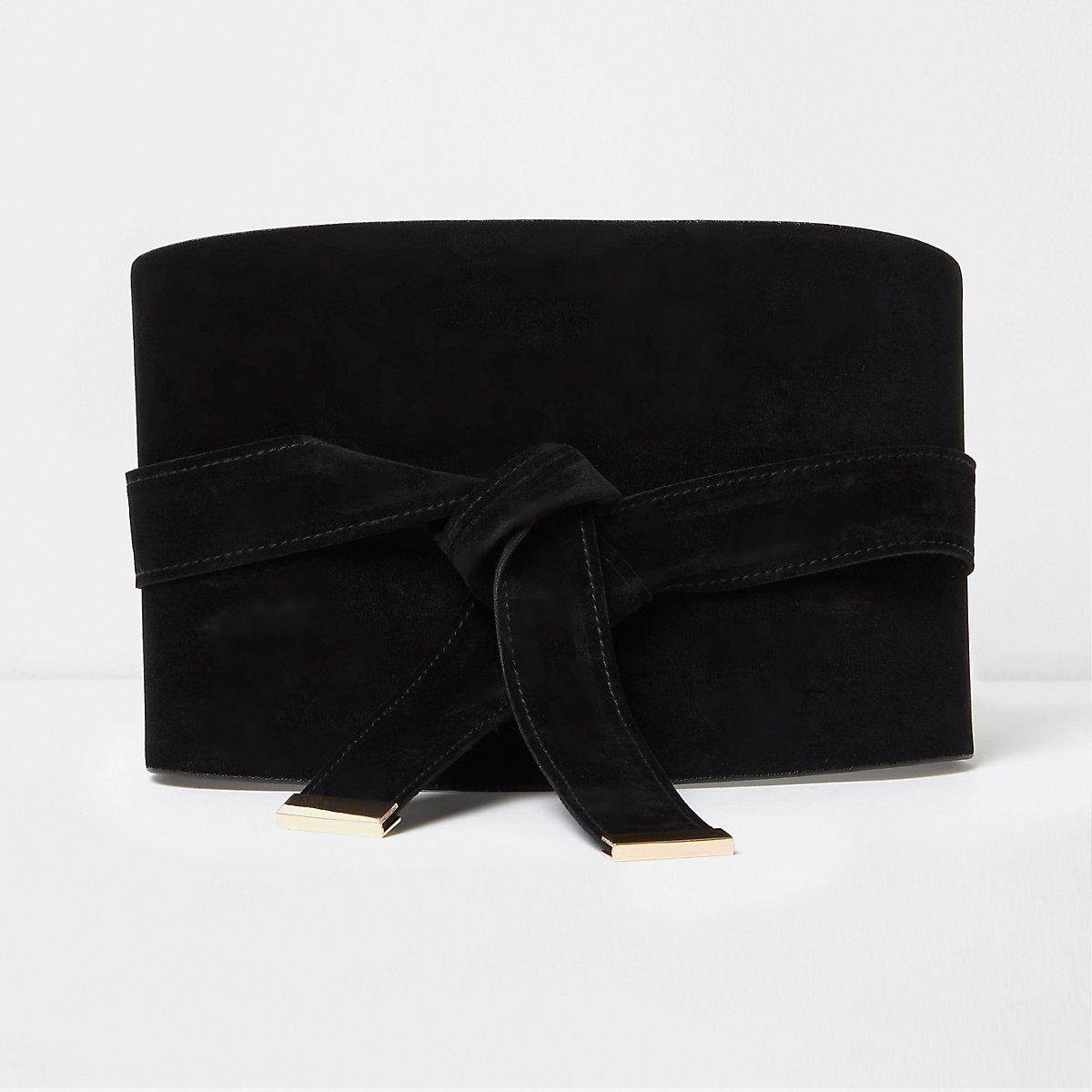 Black wide faux suede obi belt