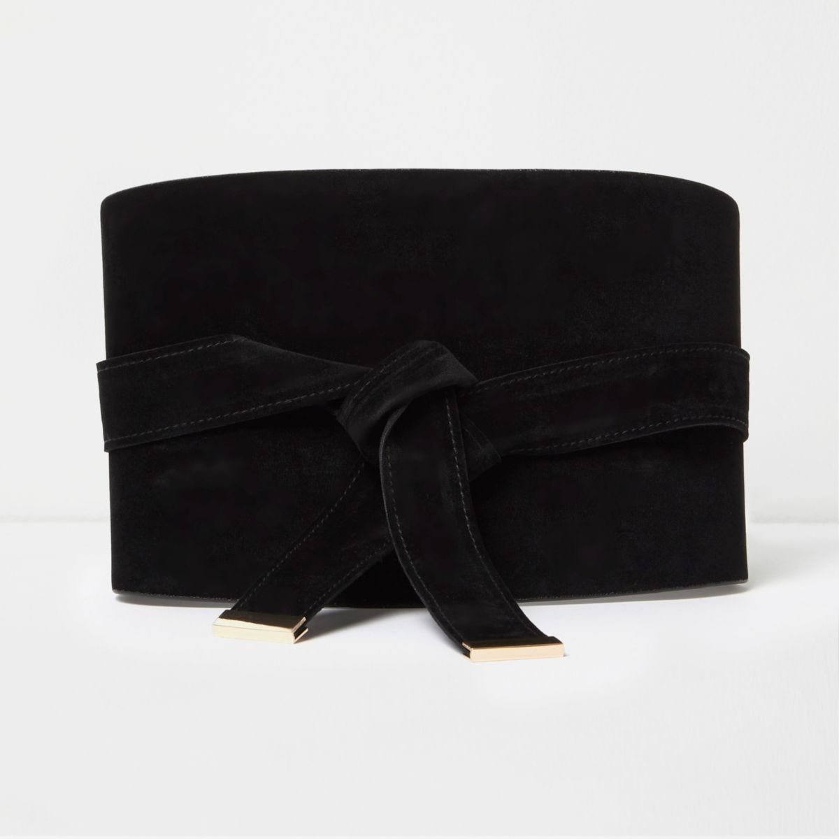 Black wide faux suede obi belt