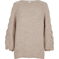 Light brown cable knit balloon sleeve jumper