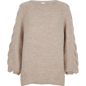 Light brown cable knit balloon sleeve sweater