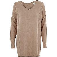 Light brown zip shoulder longline sweater