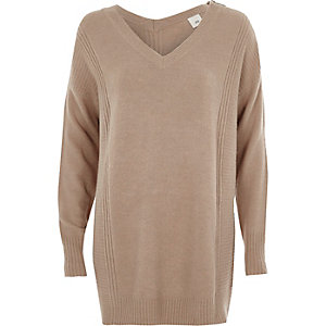 Hellbrauner, langer Pullover mit Reißverschluss