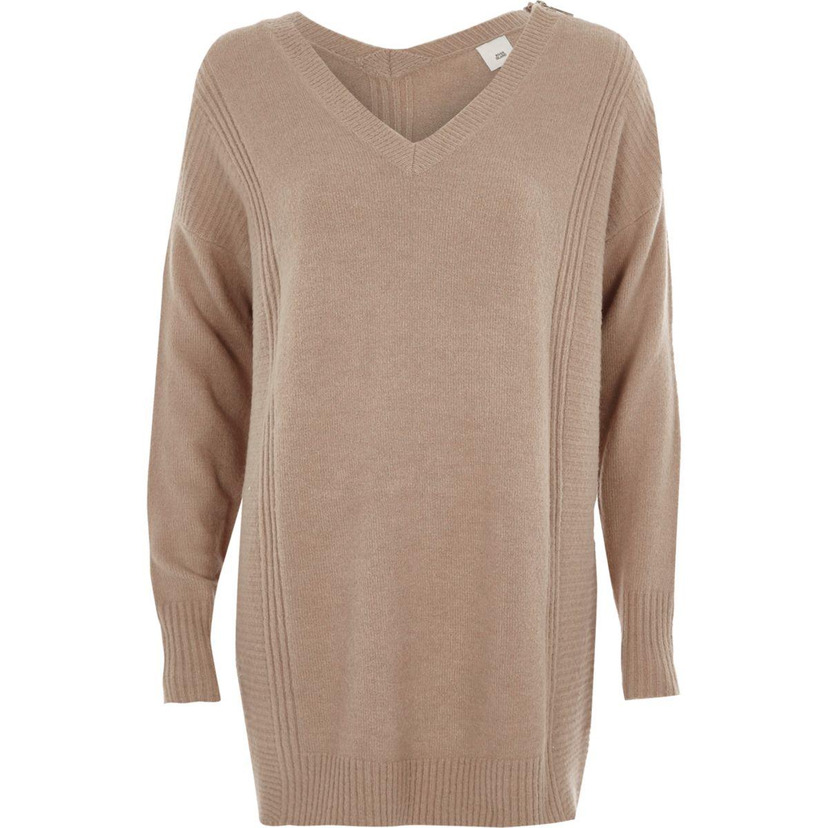 Light brown zip shoulder longline jumper