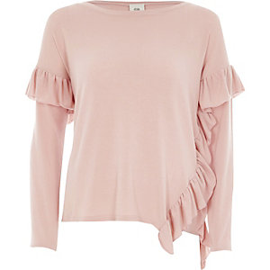 Pink asymmetric frill long sleeve top