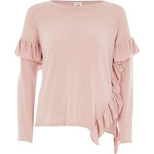 Roze asymmetrische top met lange mouwen en ruches