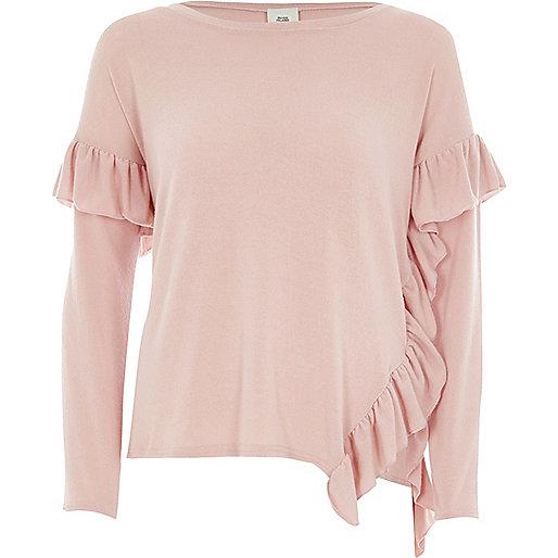Pink asymmetric frill long sleeve top