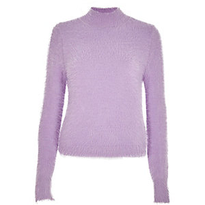 Light purple fluffy knit high neck jumper