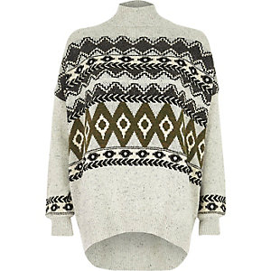 Grey Fair Isle high neck jumper