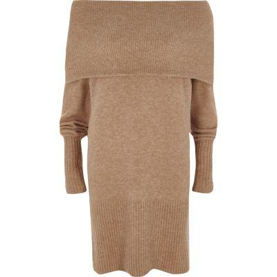 River Island Beige trui-jurk met bardothalslijn