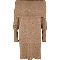 Beige foldover bardot jumper dress