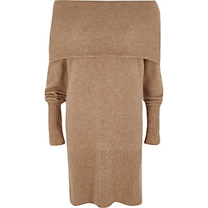 Beige foldover bardot sweater dress