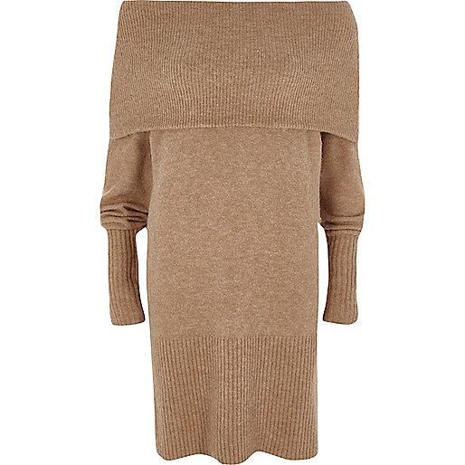 Beige foldover bardot long sleeve knit dress