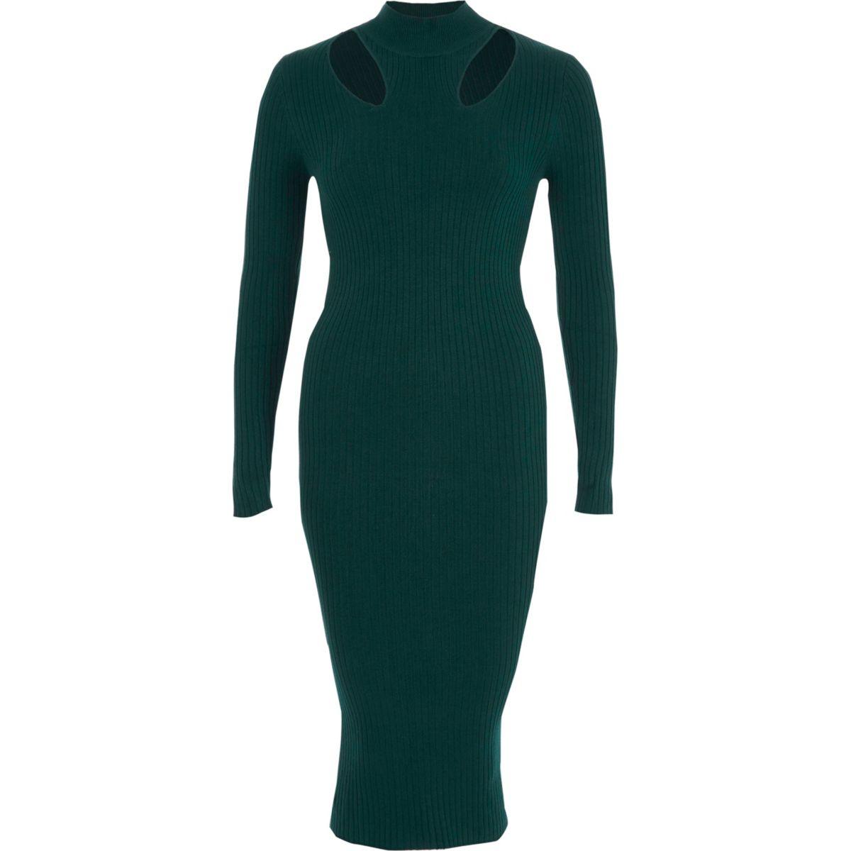 Green ribbed high neck bodycon midi dress