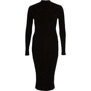Black ribbed high neck bodycon midi dress