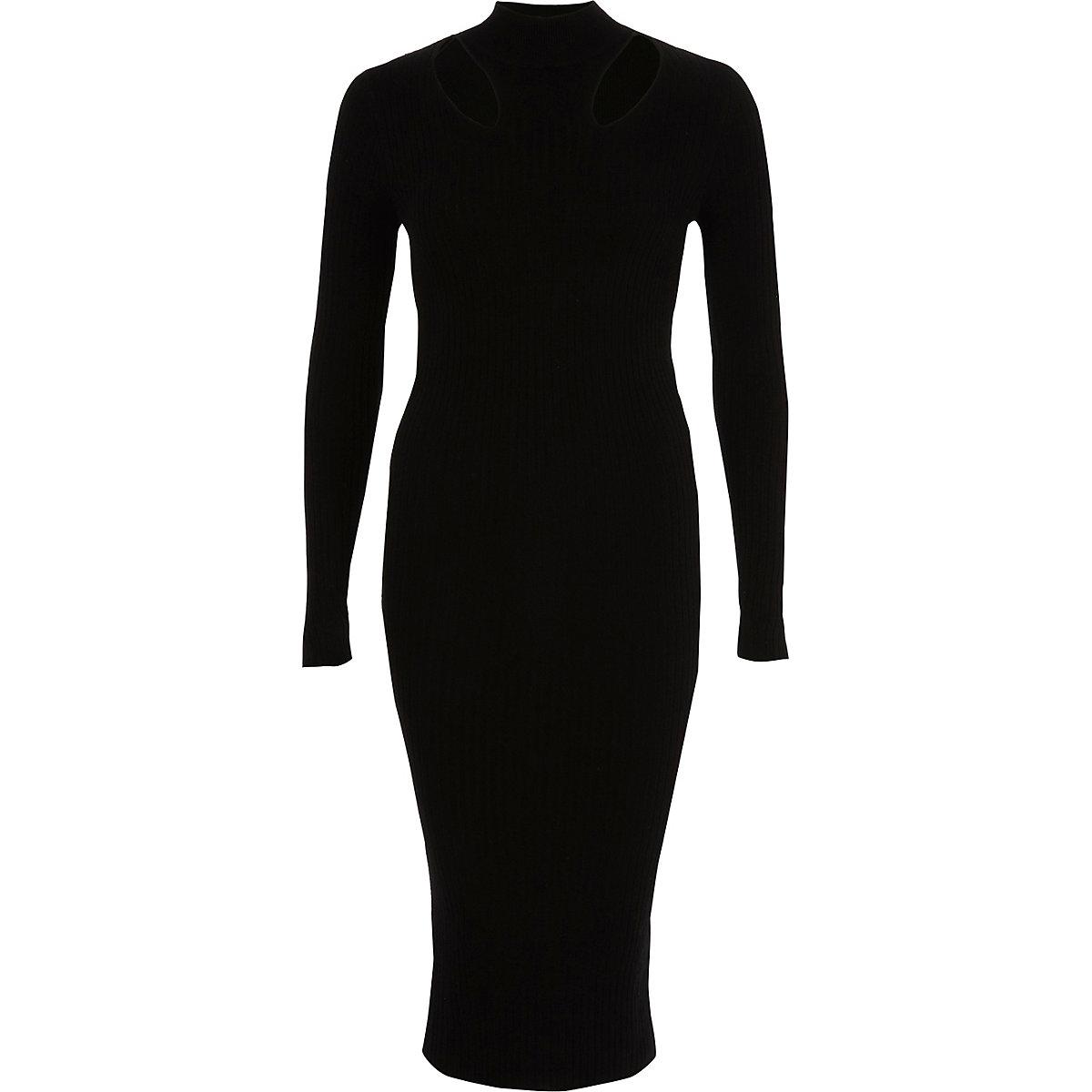Robe mi-longue moulante noire côtelée à col montant