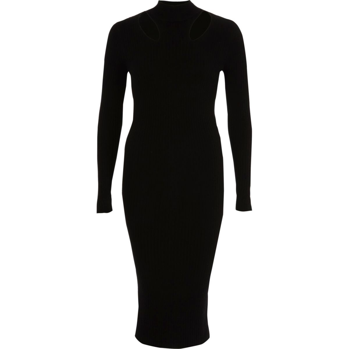 Black ribbed high neck bodycon midi dress